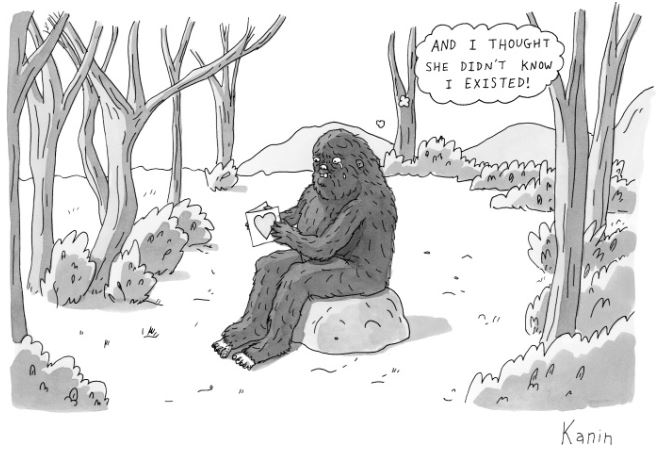 Happy bigfoots birthday twelve toed traveler i found this new yorker cartoon in barnes nobles a couple weeks ago while i was looking for birthday cards i immediately bought it for myself m4hsunfo